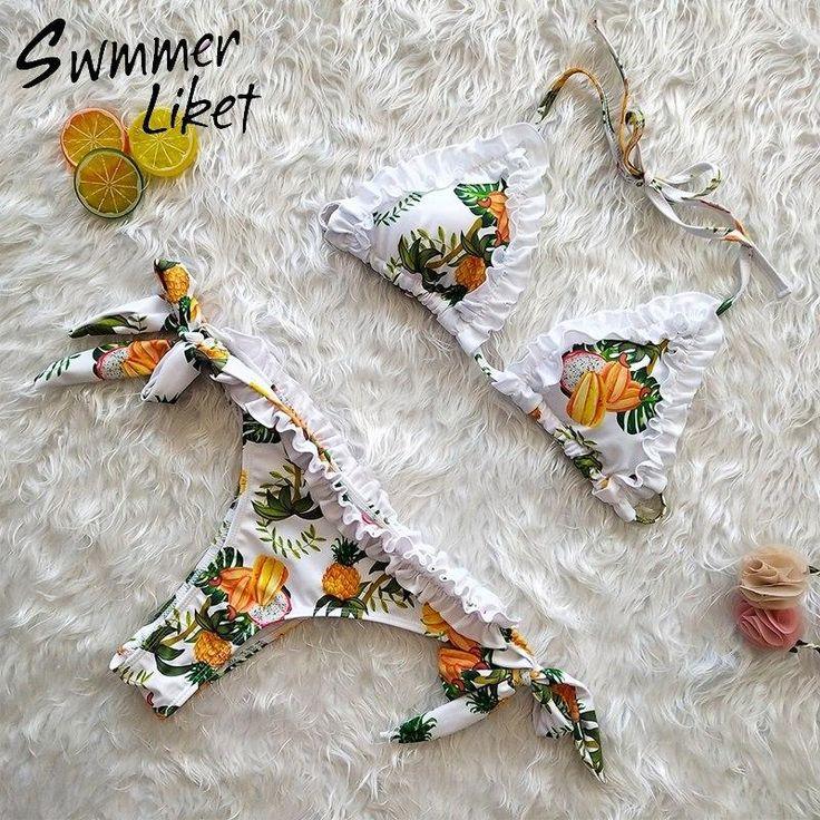 Floral print micro bikini 2019 Halter ruffle new swimsuit women bathers Sexy high cut swimwear Push up bandage bathing suit xl