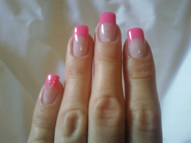 hot pink tip nails - photo #32