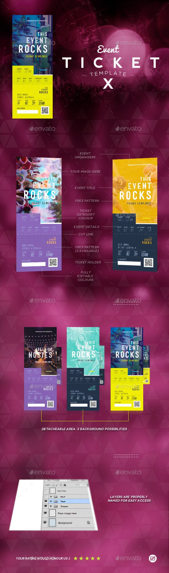 Event Tickets Template PSD. Download here: https://graphicriver.net/item/event-tickets-template-10/9177568?ref=ksioks