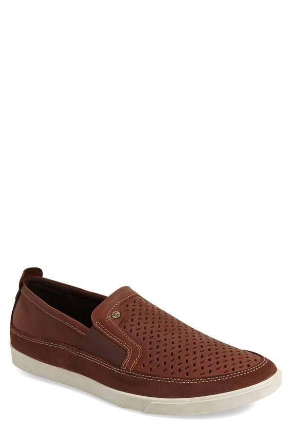 Ecco 'Collin' Cool perforations style a casually handsome slip-on shaped  from smooth