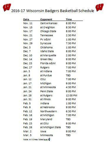 Printable 2016-17 Wisconsin Badgers Basketball Schedule