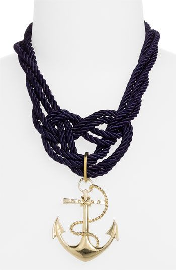 Great statement piece.Anchors Ropes, Anchors Necklaces, Ropes Necklaces, Nautical Necklaces, Beads Necklaces, Spring Street, Jewelry, Design Group, Group Anchors