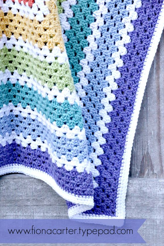 Fiona Carter's rainbow granny square blanket                                                                                                                                                                                 More
