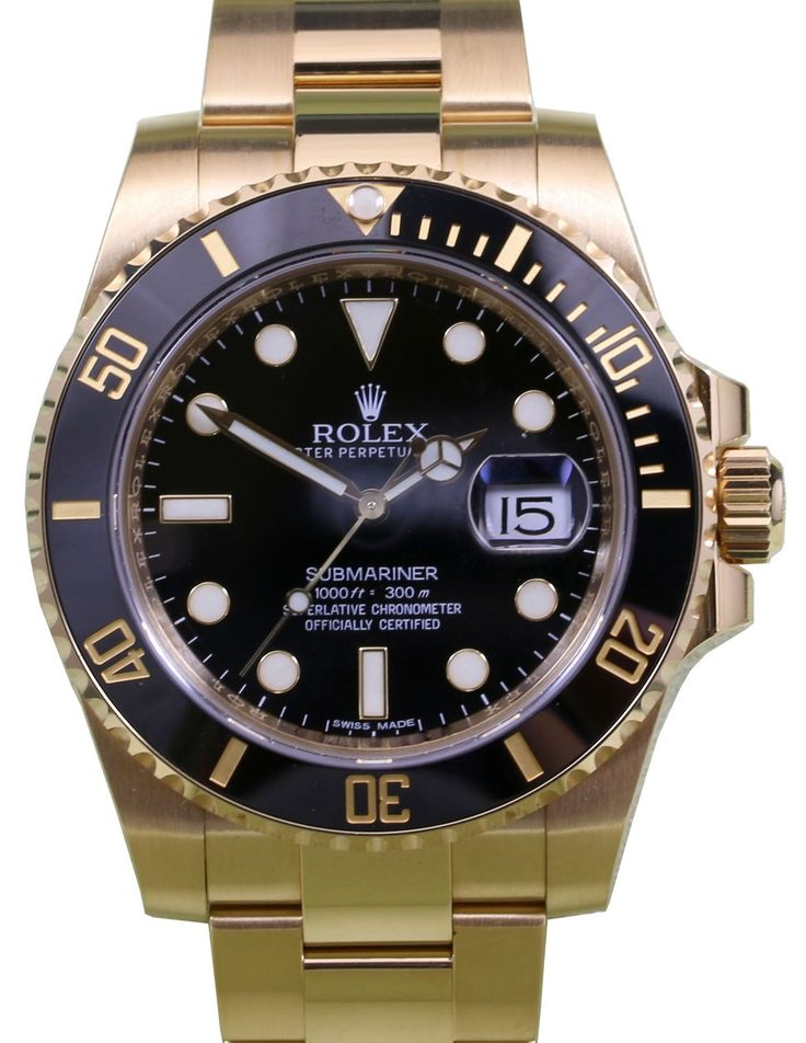 Rolex Submariner 116618LN 116618 Men's Black 40mm Solid 18k Yellow Gold Date BOX/PAPERS
