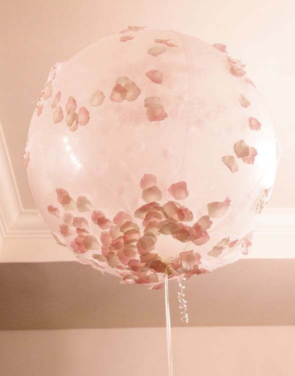 DIY Petal Decorations~So Pretty! : wedding petals reception decoration balloon covers chair covers chandelier centerpieces teal pink white ivory reception BalloonCover