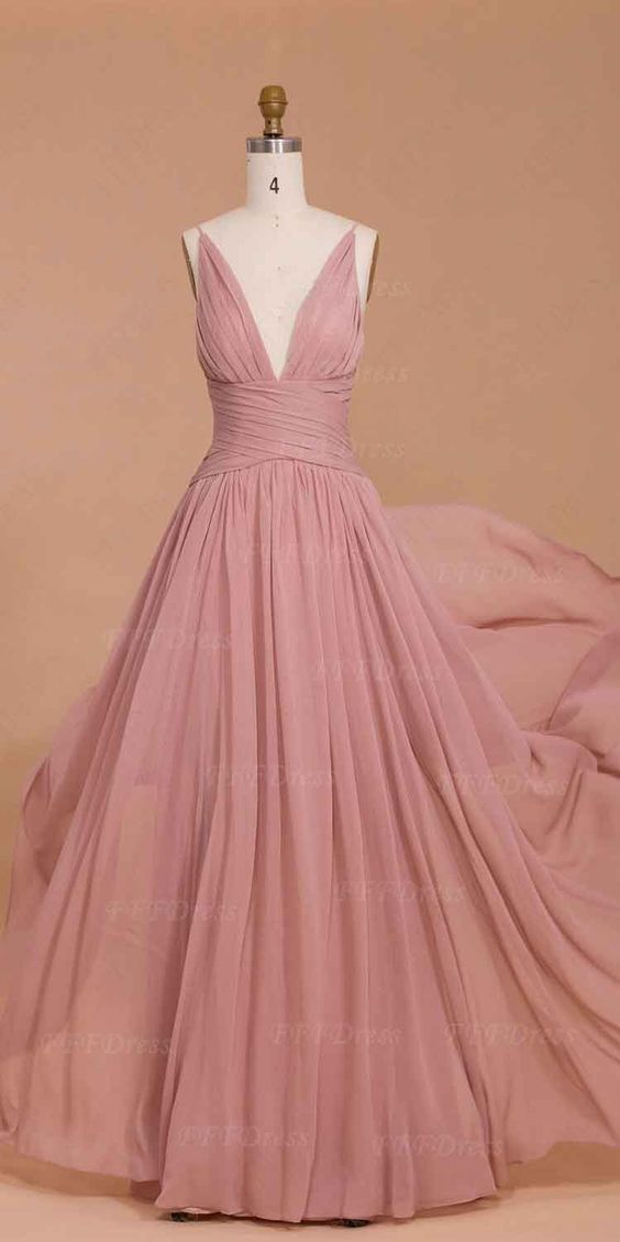 Upd0105, Spaghetti straps, dusty pink, bridesmaid dresses, long prom dresses, deep-V prom dresses