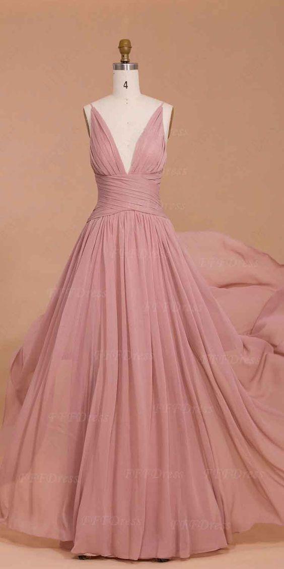 Upd0105, Spaghetti straps, dusty pink, bridesmaid dresses, long prom dresses, deep-V prom dresses