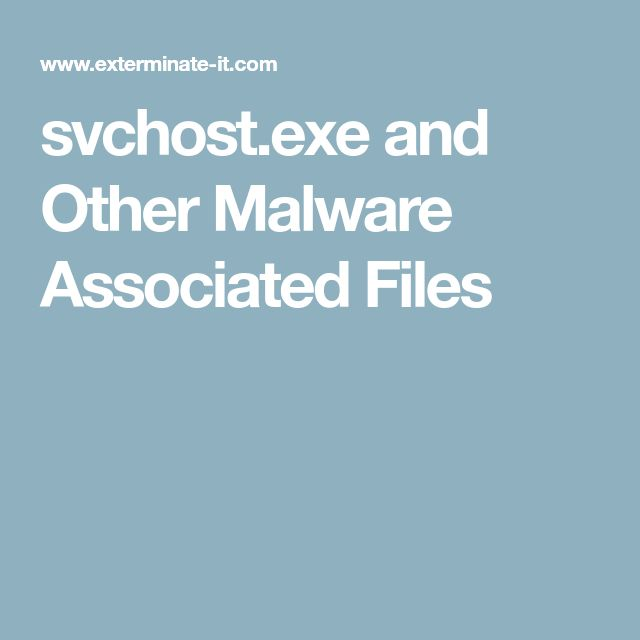 svchost.exe and Other Malware Associated Files