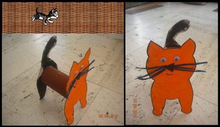 chat rouleau de papier toilette id e de bricolage pinterest animaux. Black Bedroom Furniture Sets. Home Design Ideas