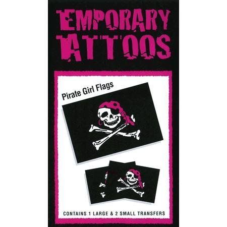 Pirate Girl Tattoos by Innovative Ideas. $1.50. In Stock. 2.625x1.75. Temporary Tattoo. Pirate girl flag temporary tattoos. Three tattoos per package, one is 2.625x1.75, and two are 1.75x1.125 inches. Easy to apply and remove, lasts for days, non-toxic.