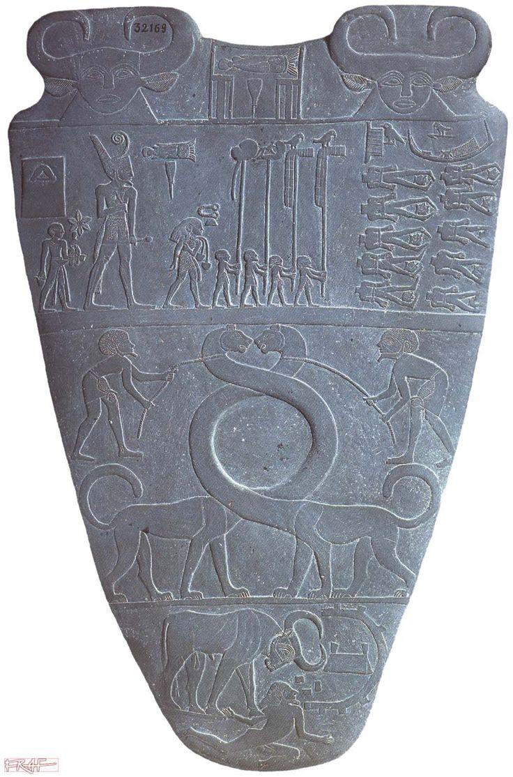 The Narmer Palette  (Great Hierakonpolis Palette)  Cairo J.E. 14716,  C.G. 32169 Hierakonpolis (Horus Temple 'Main Deposit') - h. 63,5 cm