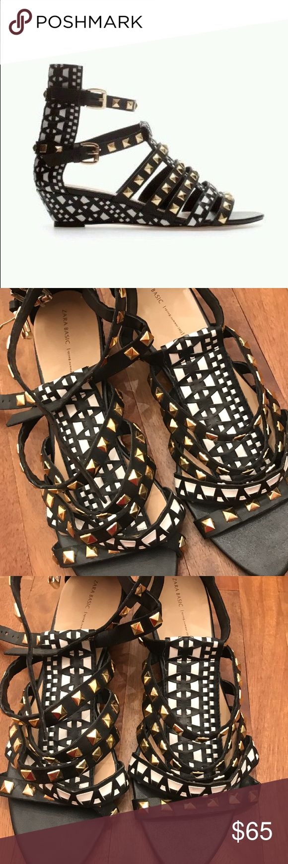 Zara Aztec Multi Colour Studded Wedge Sandals popular Zara studded wedge sandals from few years back size 8 wore maybe 2/3 times EUC bottom of heel looks dirty because I used them once in an outdoor party but no rips or stains size 8 fits very true to size. Zara Shoes Sandals