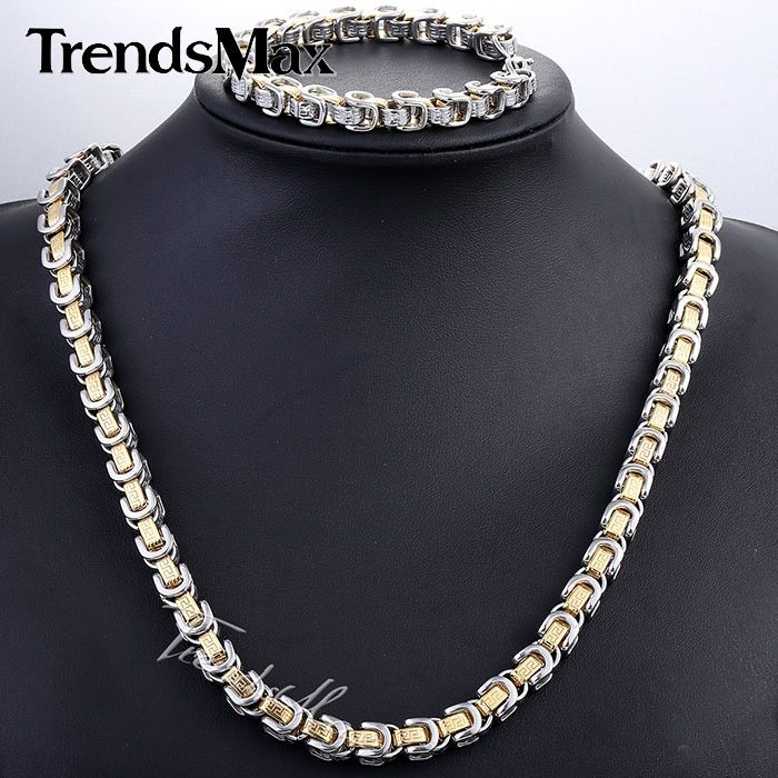 Find More Jewelry Sets Information about JEWELRY SET 8mm Mens Chain Boys Greek Pattern Box Byzantine Link Silver Tone Stainless Steel Bracelet Neckalce Set Gift KS190,High Quality gift,China gift bags new york Suppliers, Cheap gift bath from Trendsmax Flagship Store on Aliexpress.com