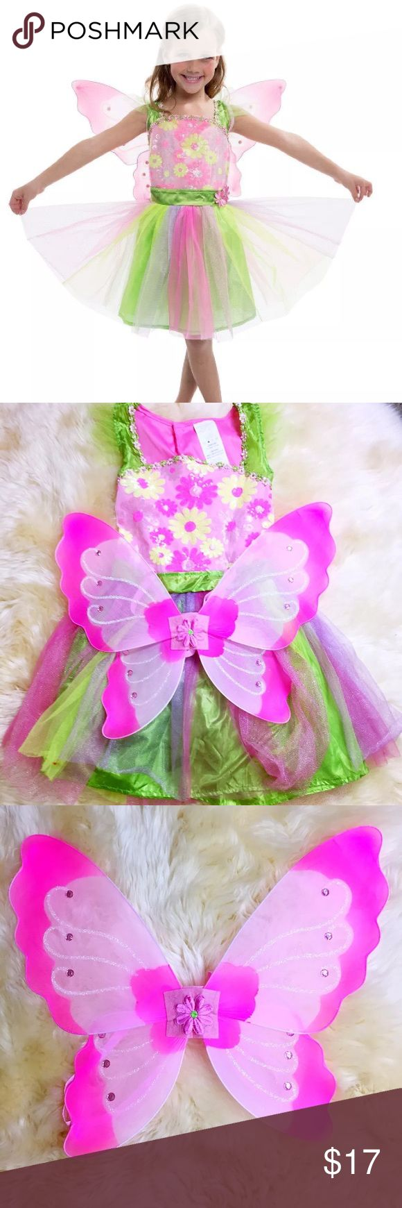 Girls Fairy Tale tinker bell Halloween costume This stunning pink and green Fairy Costume(Similar look as Tinker Bell) is an ideal choice for fairy tale themed parties, school events,Birthday and it makes a perfect dressing up Halloween for your little fairy!    Please notice :The dress size says is 10-12 But actuelly it much more smller .It equal the US size 7-8,it might because it manufactured in Singapore Costumes Halloween