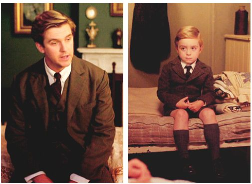 Downton Abbey ...Matthew and Master George ...That child is such a Mini-Me of Matthew..