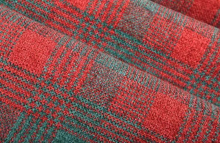Union Plaid Chenille Upholstery In Turquoise And Red Big Checkered Pattern Fabric A Soft Hand
