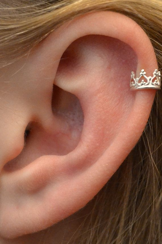 Ear Cuff Crown Sterling Silver SINGLE by ChapmanJewelry