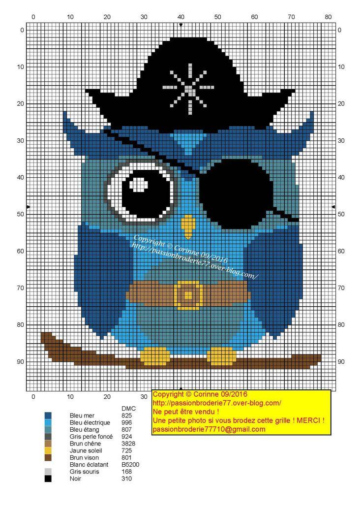 Pirate owl cross stitch.