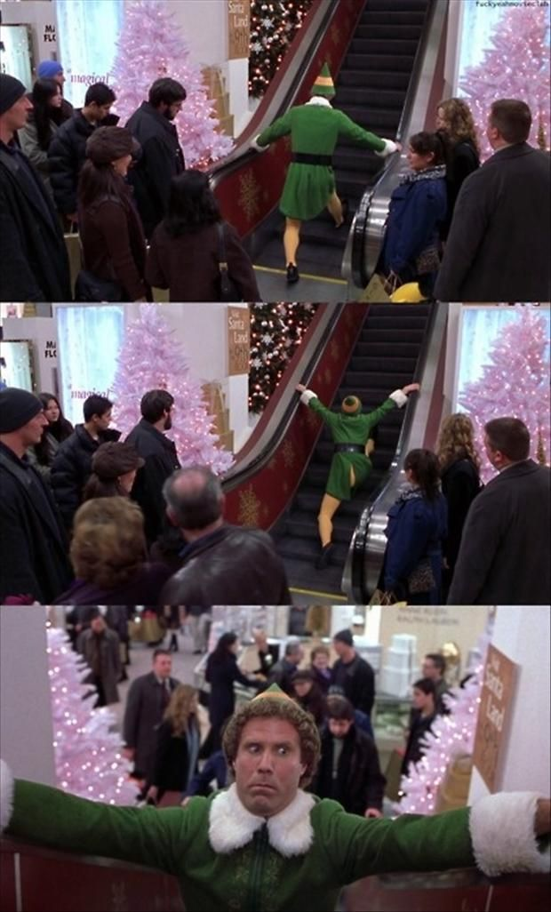 This is basically how awkward I am on escalators. Me and Buddy, we are kindred spirits.