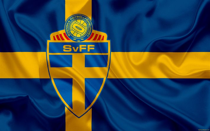 Download wallpapers Sweden national football team, emblem, logo, football federation, flag, Europe, flag of Sweden, football, World Cup