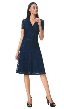Sophia - navy - Flared lace dress | LaDress