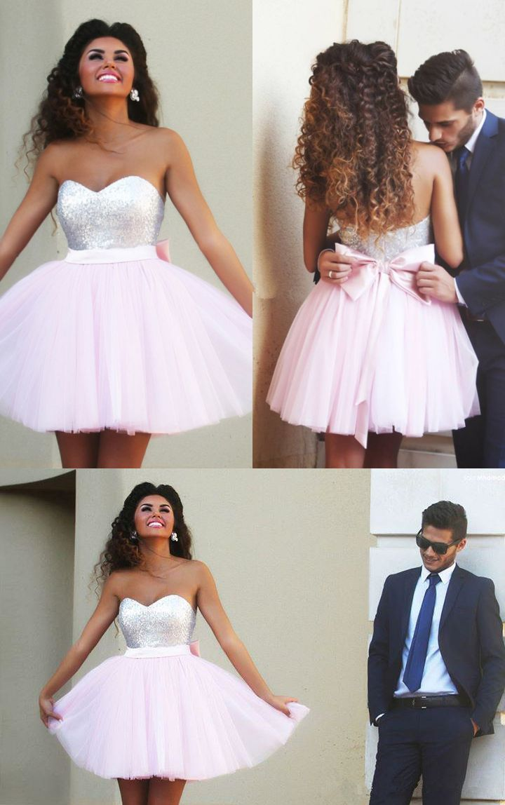 strapless homecoming dresses, pink homecoming dresses, homecoming dresses with bowknot @veenrol