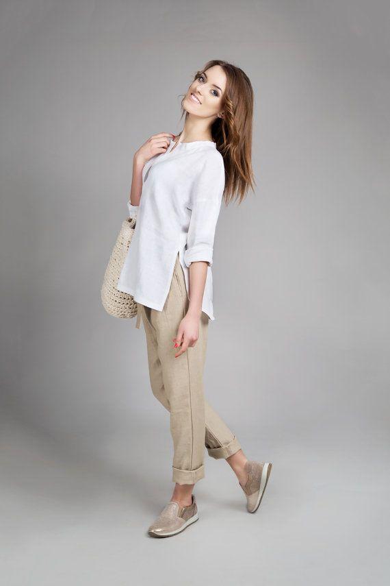 camisa de lino camisa de lino lino blusa de verano para