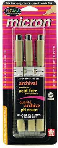 Sakura Pigma Pen Sets (Micron) - Blacks (Set of 3) - 2 Units