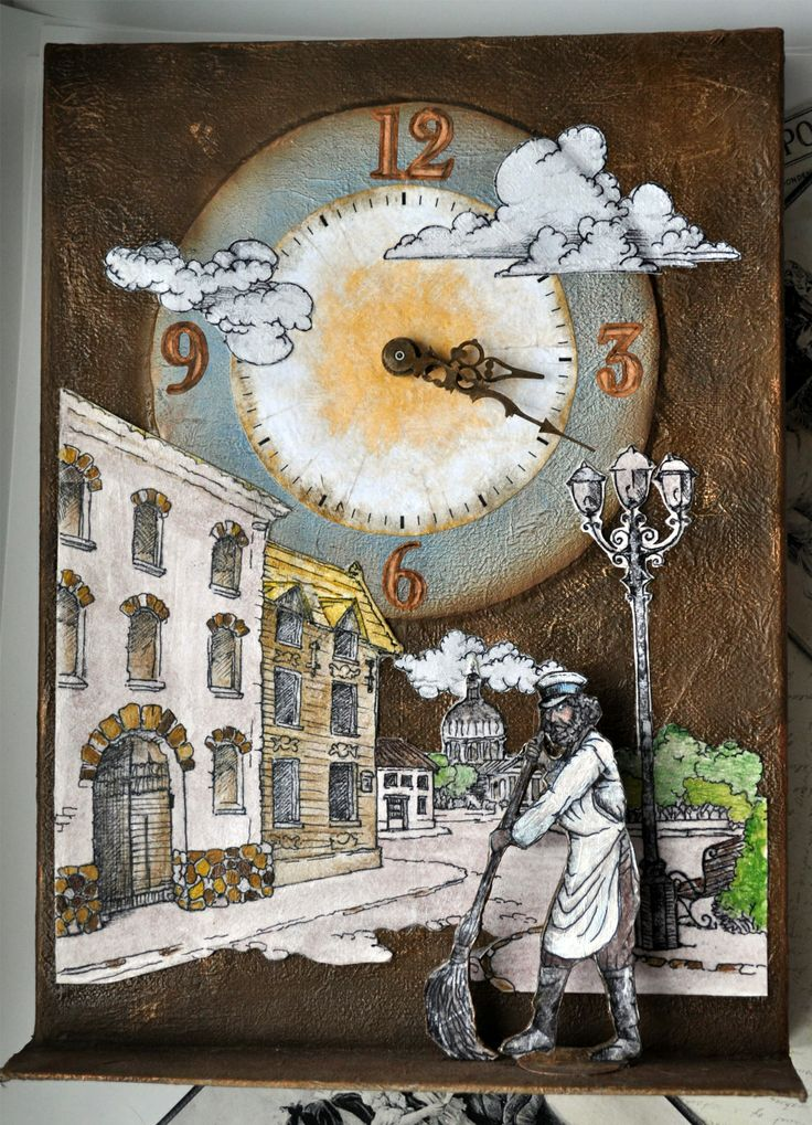 """Часы """"Уездный город"""" Картонаж, аппликация, папье-маше. Автор Маргарита Белова"""