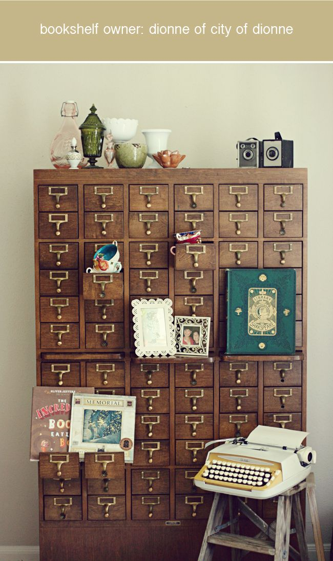obsessed with this library card catalog: Idea, Dream, Vintage Card, Old Cards, Card Catalogs, Herringbone Wall