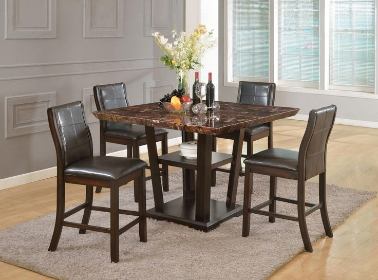 5 Piece Counter Height Table And 4 Chairs Faux Marble Top In Glossy Stone Motif Espresso