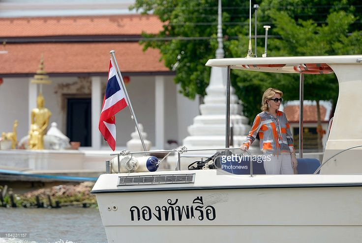 Princess Mathilde of Belgium takes a boat ride on the Chaophraya River on March 21, 2013 in Bangkok, Thailand. Prince Philippe And Princess Mathilde of Belgium are on a six-day visit to Thailand.