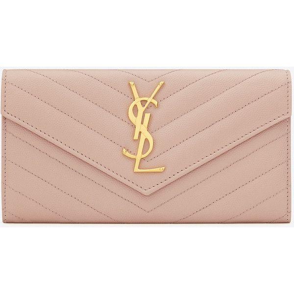 Large Monogram Saint Laurent Flap Wallet In Pale Pink Grain De Poudre... (1 015 AUD) ❤ liked on Polyvore