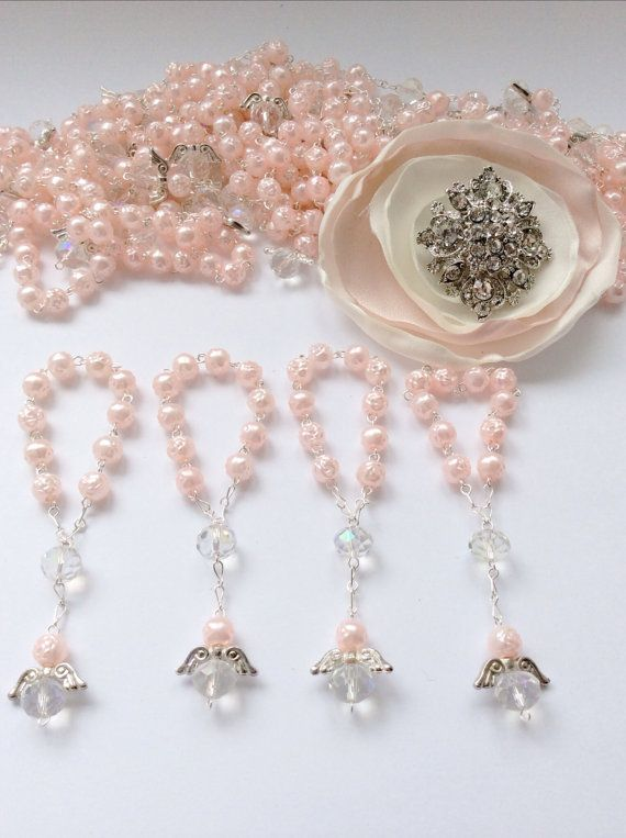30 pcs Angel Pink Pearl First communion favors Recuerditos Bautizo 30pz/ Mini Pearl Rosary Baptism Favors