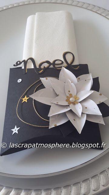 pillowbox with poinsettia black white gold silver - SCRAPATMOSPHERE, les ateliers créatifs de Catherine