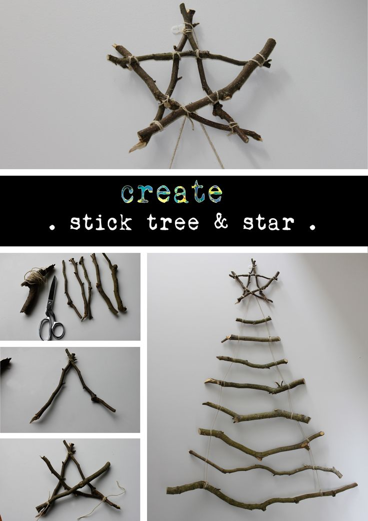Wall hanging stick xmas tree