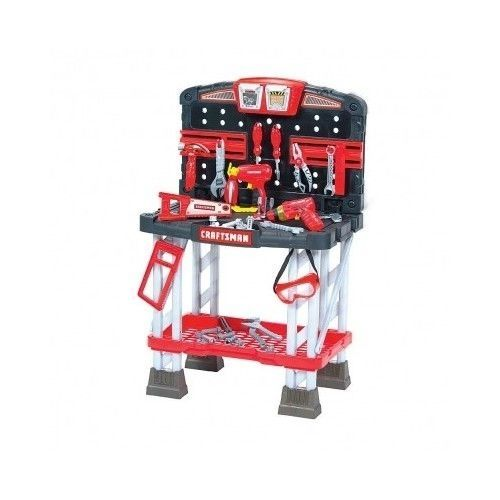 Craftsman Kids Workbench Kit 2 Power Tools Table Vice Drawer Boy Toy Set Gift  #craftsman