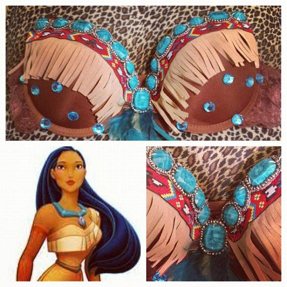 Disney Pocahontas Rave Costume Bra Top by AngelinaSDiaz on Etsy, $35.00
