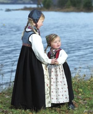 Young girls in traditional clothing from Valdres, NO.