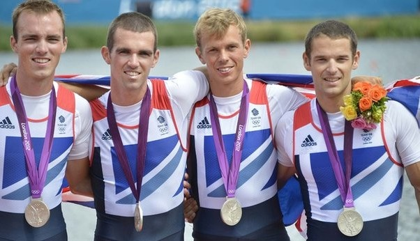 Men's Rowing Lightweight Four:  Team GB's 2012 10th Olympic medal was a Silver won by: Brothers Peter and Richard Chambers, Rob Williams and Chris Bartley on Thursday 2nd August 2012 in a time of 5:59.68 at Eton Dorney, Windsor.