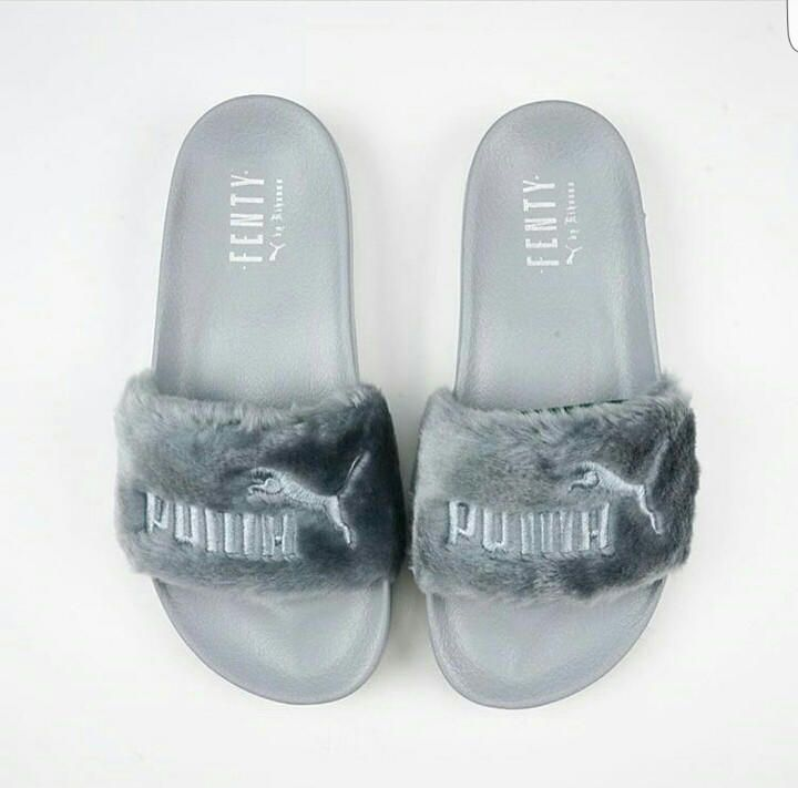 721e6d94fc695b Rihanna Fenty Fur Puma Slippers Gray from JusWynning. Shop more products  from JusWynning on Wanelo.