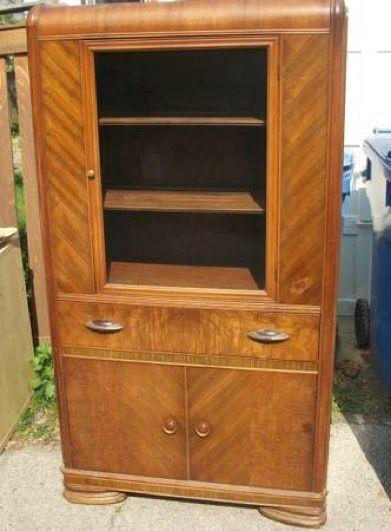 Antique Art Deco China Cabinet W Bakelite Pulls Pickup