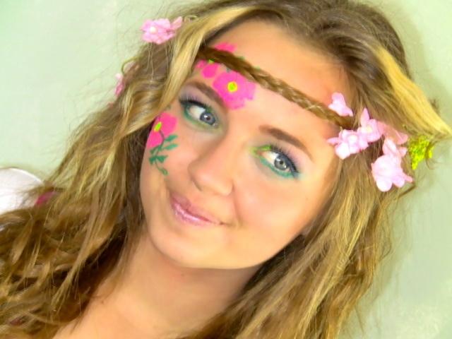 Hippie hair & makeup, minus the painted flowers
