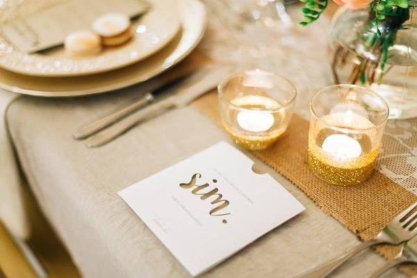Golden & white cutted wedding invitation