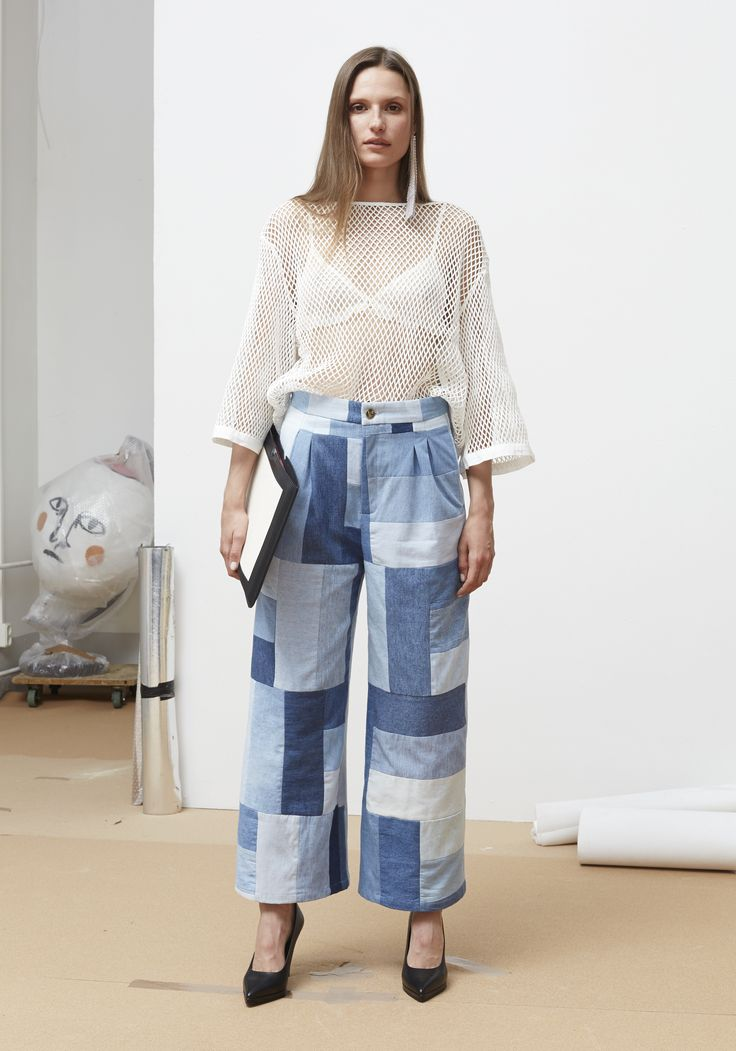 Rodebjer SS16: Top Lau White, Trousers Mina Patchwork Light Blue, Shoes Charlotte Black.