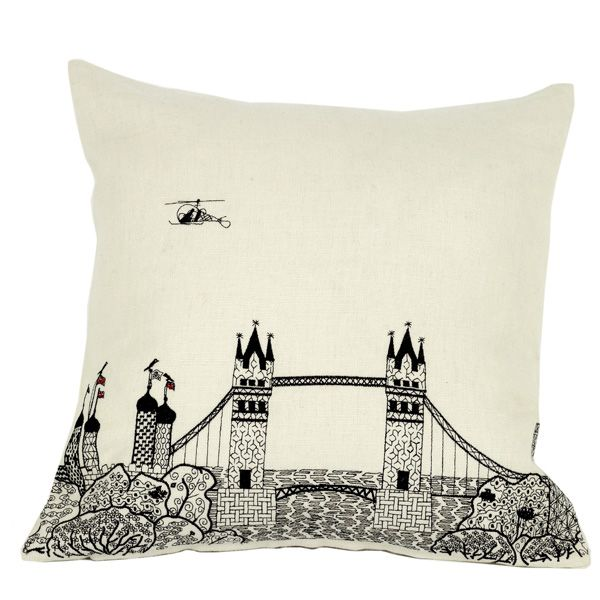 Tower Bridge cushion from the Scenic range. Machine embroidery on white, 100% linen. Available to buy from:  Www.charlenemullen.com