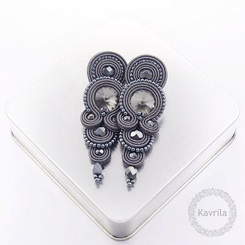 #sutasz #soutache #earrings #glamour #dark #grey #handmade #jewerly #fashion…