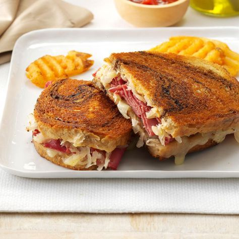 Toasted Reubens Recipe -New Yorkers say my Reubens taste like those served in the famous delis there. For a little less kick, you can leave out the horseradish. —Patricia Kile, Elizabethtown, Pennsylvania