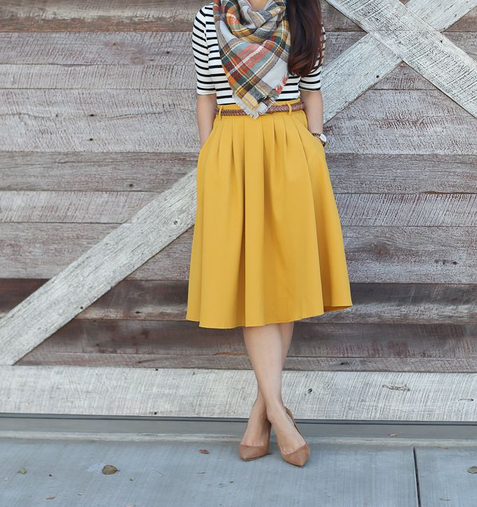 Breathtaking Tiger Lilies Midi Skirt in Mustard, Inside Scoop Top in Black & White, camel suede pumps, plaid blanket scarf, fall outfit, fall fashion, mustard pleated midi skirt, petite outfits, petite fashion - click the photo for outfit details!