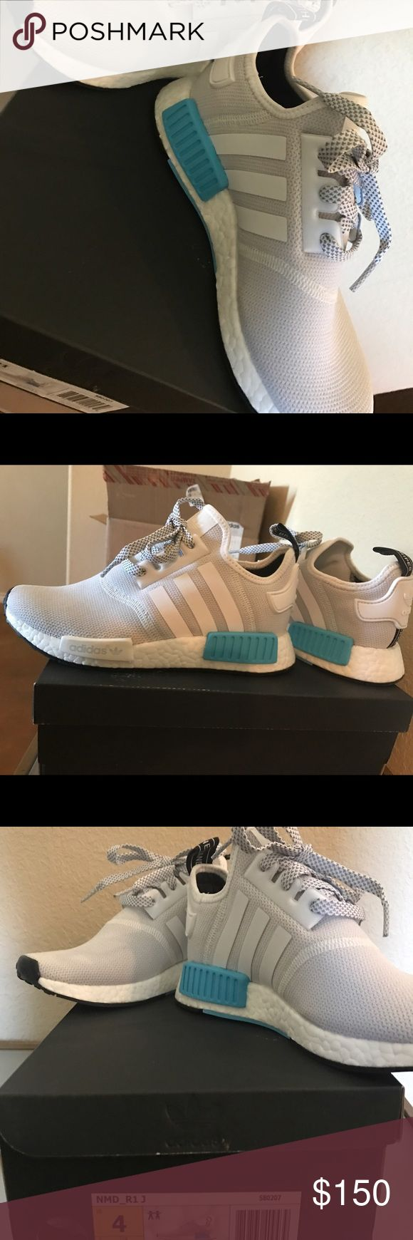 KIDS ADIDAS NMD White adidas nmd with blue bottom! Worn once just were too tight! No marks in perfect condition Adidas Shoes Athletic Shoes